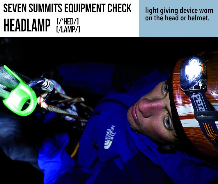 Climbing, Everest, Summit, Seven Summits Equipment Check, Headlamp, Susan Ershler, Sue Ershler