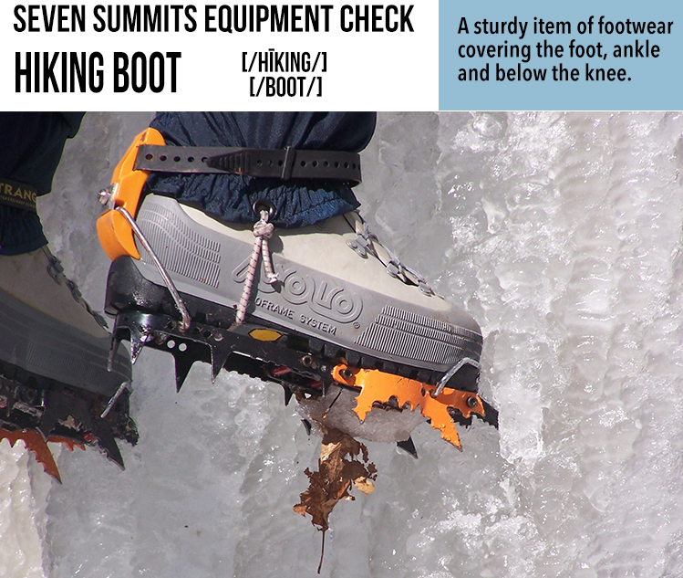 Susan Ershler, Ershler, Seven Summits, Hiking Boot, Seven Summits Equipment Check